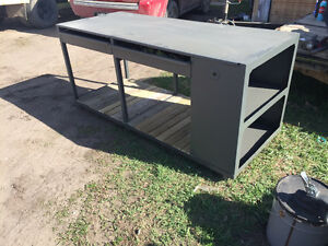 "74"" steel work bench with drawers"