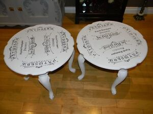 Very Unique Two End Tables with French décor