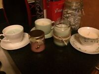 Homemade candle tea cup and jars sold for charity