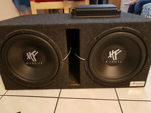 two 12 inch hifonix subs in ported box w/ alpine amp and deck