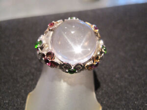QUARTZ CABACHON RING WITH ENAMEL FLOWERS/SEMI-PRECIOUS STONES!