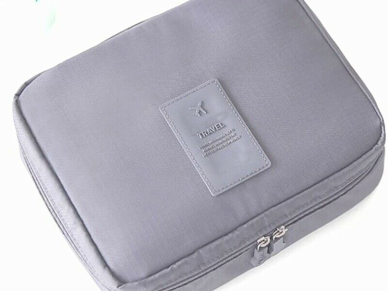 Brand New Grey Foldable Travel Cosmetic Toiletry Organizer Pouch