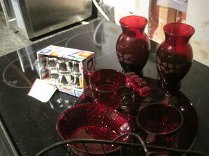 Beautiful ruby glass serving pieces!Dress up your table!