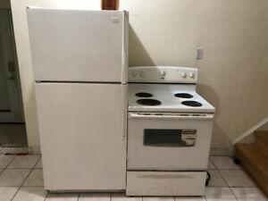 White kitchen appliances fridge stove