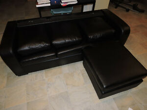 Used Black Faux-Leather Couch - Mint Condition*