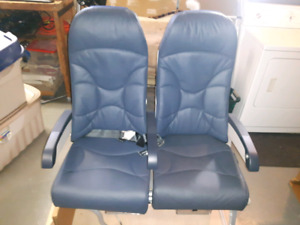 Brand new CRJ100 aircraft airplane double seat assembly leather