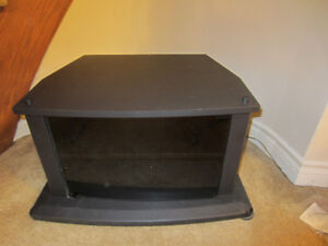 Wooden TV Stand with Wood Shelf and Black Glass Door