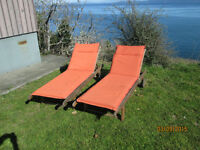 Solid teak loungers