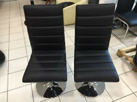 2 x Actona Black Faux leather dining/office chairs with Chrome Trumpet Shaped Base