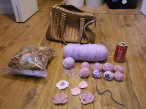 ensemble sac de tricot laine lilac bordure décorative etc etc