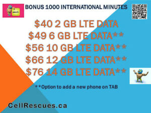 Telus Koodo Cellphone Plans 6GB/10GB LTE $49/$56~Cellrescures.ca