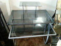 GREAT LOOKING,TAKES LITTLE SPACE ( MRYAL AND TINTED GLASS DESK )