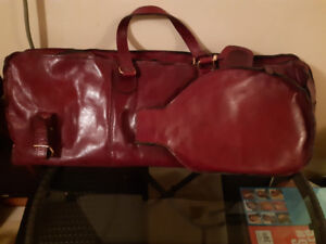 Luxurious Columbian leather sports bag with raquet, balls, glove