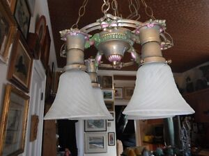 Wonderful Antique Vintage Brass Chandelier 7