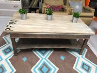 Wooden pallet effect coffee table with industrial effect base