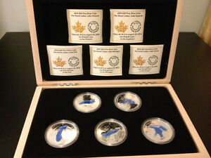 RCM - The Great Lakes Silver 5 Coin Set with wooden box