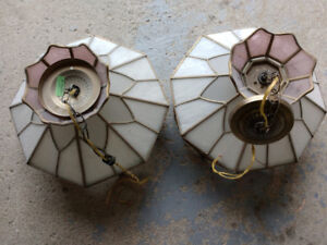 TWO Beautiful Tiffany vintage stained glass hanging ceiling lamp