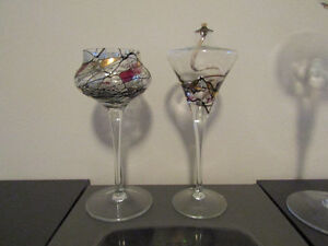 """STAINED GLASS CANDLE HOLDERS """"PARTYLITE"""""""