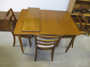 Mid Century Modern Elm Dining Table Chairs C1962 Knechtel