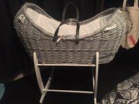 Grey Noah pod Moses basket & white stand