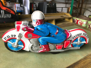 "VINTAGE POLICE MOTORCYCLE ""P.D.27"" TIN TOY JAPAN HAJI"