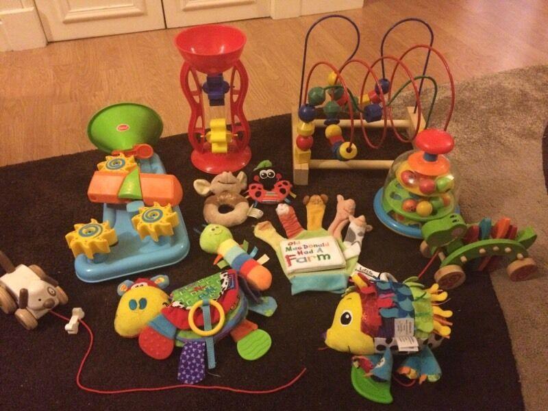 Large baby toy bundle: Lamaze hedgehog, bath toys, wooden toys ...