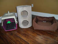 PET CARRIER + BED + SCRATCHER! $5.00 EACH