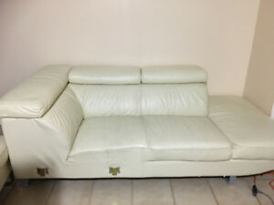 L-Shaped Leather couch white