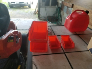 Plastic storage containers.