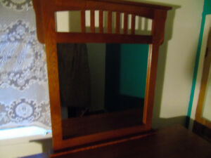 * Price Reduced Mission Oak Finish Dresser And MIrror