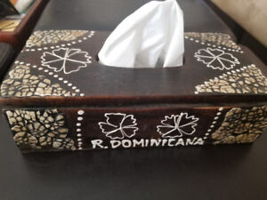 Wood Kleenex / tissue box from Dominican Republic