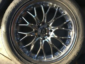 "17"" Core Racing Chrome rims for sale"