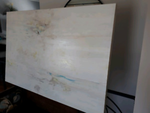 Large modern abstract neutral acrylic on canvas painting