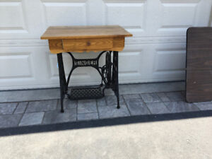Table Desk Cast Iron Treadle Base.  Oshawa. Wilson & Taunton