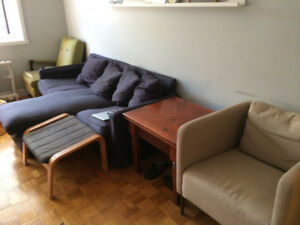 Ikea Couch, Chair and Footrest/ Canapé et Chaise