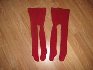 2 pairs of Red Tights size 0-9 months
