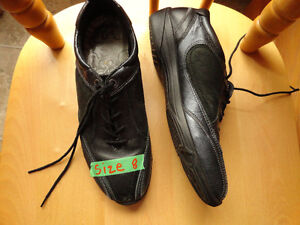 """Leather Black Shoes by """"Ecco"""" - Size 8"""