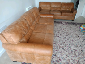 2 Three seater geniune raw leather sofas for sale