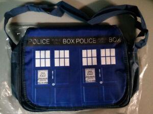 Doctor Who Tardis vinyl messenger bag $30
