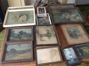 Vintage country and floral framed pictures
