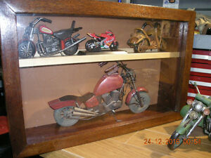 Wood Display Case with Miniature Motorcycles
