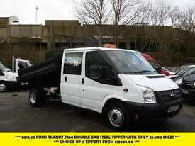 2012 FORD TRANSIT 350 DOUBLE CAB STEEL TIPPER WITH ONLY 35.000 MILES TIPPER DIES