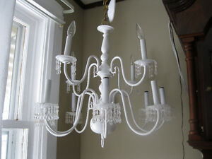 Chandelier Brass Painted White and Designed by Me One of a kind
