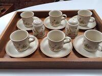 M&S Set of 6 Harvest Espresso Coffee Cups & Saucers
