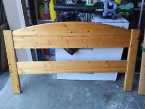 Solid wood double kids bed frame.