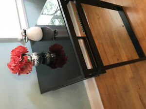 Black glass-topped coffee and 2 end tables