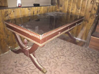 Antique coffee table with framed glass slides