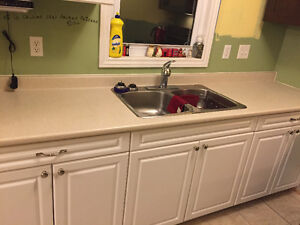 Cabinets, counter top, sink/faucet