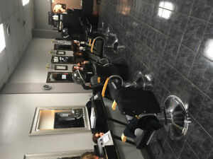 Hairstyling stations and chairs