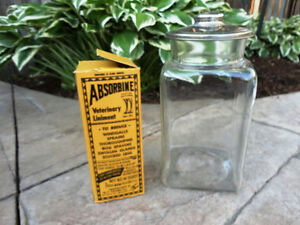 Vintage Glass Store Candy Jar & Absorbine Veterinary Liniment